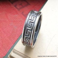 Mens Oxidized Band Silver Wedding Band Greek Key Patterned Band Mens Single Ring Sterling Silver Wide Band Ring Wedding Band