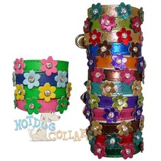 Made in the USA with pride, the flower leather dog collars use top quality tanned latigo leather, nickel plated brass hardware, and gorgeous cut crystals.  When you want the quality and durability of leather, but the style of crystals and flowers