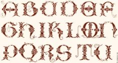 16th Century. Vatican. Ornamental Alphabets, Ancient and Mediæval (1879)  Alphabet from a 16th Century manuscript in the Vatical Library. The letters are A B C D E F G H I K L M N P Q R S T Y, so that J, V, Y and Z are lacking.