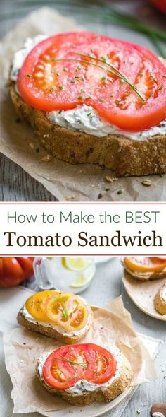 Just 4 ingredients and 3 minutes to summertime bliss! Use your very best tomato and a bakery-fresh, grainy loaf of bread to create delicious magic in just minutes! Our best-ever Open-Faced Tomato Sandwich is so quick and easy, yet absolutely, scrumptiously beautiful in its pure simplicity! Try it once, and this is the sandwich you'll crave all summer long! | tomato recipes | heirloom tomatoes recipes | open faced sandwich | sandwich recipes | summer recipes | www.TwoHealthyKitchens.com Heirloom Tomato Recipes, Fresh Tomato Recipes, Heirloom Tomatoes, Best Sandwich, Bread Sandwich Recipes, Grill Sandwich, Whole Food Recipes, Cooking Recipes, Recipes