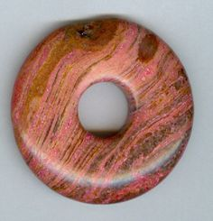 40mm Dyed Pink Agate PI Donut Pendant Gemstone Bead by RockNBeads, $3.75