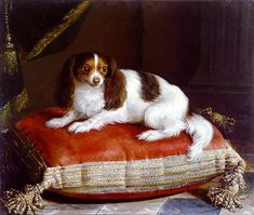 Furniture specifically designed for canine use was a further reflection of an owner's prestige. Red velvet imported from the Low Countries was used to upholster the dogs' pillows;  early-eighteenth-century paintings by Alexandre-François Desportes at the musée de la Chasse et de la Nature and Jean Ranc (a French artist who made his career at the Bourbon court of Spain) show such cushions trimmed with gold-trimmed tassels and braid.
