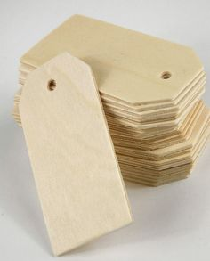 """wishing tree tags.. 3-1/4"""" Wood Hang Tags (25 tags pack ) $5.99 pkg/ 3 pkgs for $5 each        3-1/4"""" x 1-5/8"""" x 1/8"""" thick  Unfinished wood. With a hole on top."""