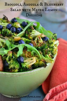 Broccoli, Arugula & Blueberry Salad with Meyer Lemon Dressing | THeHealthyApple | #glutenfree #healthy #recipes #salad