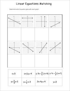 Miss Mathematics: Linear Equations Matching Activity