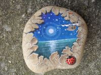 moonlight over water and a little ladybug - painted rock.... PedraBrasil: Pedras pintadas