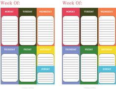 Free Weekly Planner from Artzology