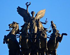 Wellington Arch, Hyde Park Corner, London, UK - The sculpture depicts Nike, the Winged Goddess of Victory, descending on the chariot of war. The statue is the largest bronze sculpture in Europe. - by soulman53