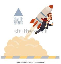 startup business, flat design illustration, businessman on a rocket, flat style, vector illustration with flying rocket, space travel to the moon, project start up and development process
