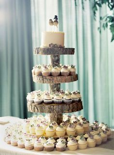 Country Wedding Cakes Rustic Cupcake Tower - 23 Rustic Wedding Cakes to Complement Your Theme . Wedding Cake And Cupcake Stand, Wood Cupcake Stand, Rustic Cupcake Stands, Rustic Cupcakes, Cupcake Tree, Large Cupcake, Wedding Cakes With Cupcakes, Cupcake Cakes, Small Cake