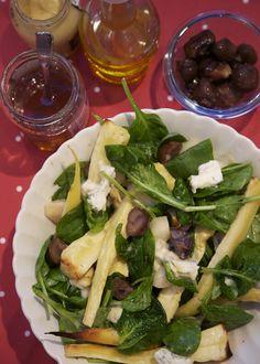 Warm parsnip salad with gorgonzola