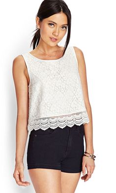 FOREVER 21 Floral Crochet Lace Top is on sale now for - 25 % !