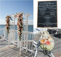 For the ceremony, the Club's white arbor was dressed with fresh florals in tones of pale pinks to more vibrant peaches and bright whites similar to the soft aisle decor of gathered blooms on silver buckets. A custom black and white sign outlined the ceremony program.