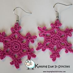 The Dawn Rose Snowflake Earring is a beautiful medium rose. They are wonderful for when you want a little pop of pink, but nothing to showy. Great for the office, or around the home.  Crochet with 100% Egyptian cotton and hypoallergenic Stainless Steel earring hooks.  The Dawn Rose Snowflake Earrings are light and flexible. You will barely feel them as you go about your day. Looking great and not feeling weighed down? What more can you ask for?
