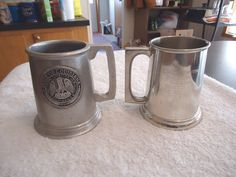 "Vintage Set Of 2 Collectable Mugs,1,b.p.co.pewter 1236,1,rwp "" Beautiful Pair """