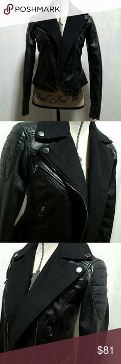 """🍒BUFFALO Outerwear Leather jacket Still has a ton of life, leather is very soft,  a lot of detail, 3 pockets in the front, wrist zipper, 100% Genuine Leather with Wool collar and back.  Polyester lining.  Professional leather clean only.  Armpit to armpit 15"""" Length 19""""  Please ask any and all questions before purchasing this item.  SMOKE FREE HOME Buffalo Jackets & Coats"""