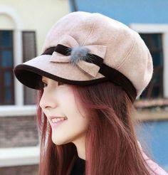 Sweet bow newsboy cap for women wool winter hats