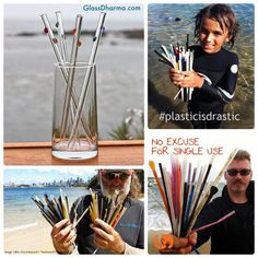 "One reusable straw replaces countless single use plastic straws!  #BYO GlassDharma has hemp sleeves and family packs to transport your own straw to outings where you can say, ""No, thank you, I brought my own"" #glassstraw."