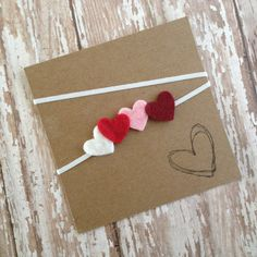 Tiny Felt Heart Headband Hearts Headband Baby by HipAndHail, $3.20