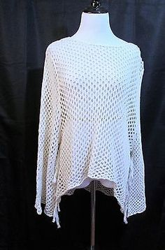 Womens-Sweater-Blossom-amp-Clover-Open-Weave-Asymmetric-Hem-Cream-See-Measurement