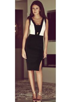 Black Patchwork Cut Out Plunging Neckline Sleeveless Dress - Midi Dresses - Dresses