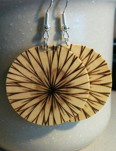"I found my Sister's earrings on Pinterest! Woohoo! ""Such a wonderful burned wood design"""