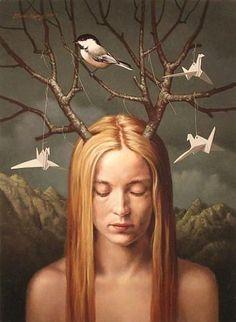 """Paper Birds"", painting by artist Steven Kenny. Paper Birds, Magic Realism, Wow Art, Art Graphique, Visionary Art, Surreal Art, Surreal Portraits, Modern Portraits, Bird Art"