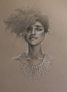 "'Elusive' by www.saragolish.com graphite & conte on toned paper 16"" x 25"" #portrait #drawing #liannelahavas giclee prints available art@saragolish.com"