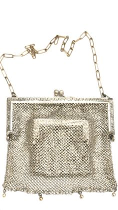 Antique German Silver Metal Mesh Purse w/Inner Change Purse 1870s