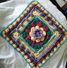 "Jennie's Basket of Flowers - free 12"" crochet square pattern by Diana Marie."