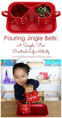 Pouring jingle bells is a fun Montessori-inspired holiday activity that helps preschoolers develop order, concentration, coordination, and independence. It's simple to prepare, too - Living Montessori Now Montessori Baby, Montessori Trays, Montessori Education, Montessori Materials, Montessori Activities, Preschool Activities, Montessori Bedroom, Montessori Elementary, Montessori Classroom