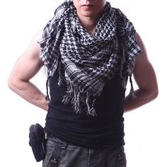 CHEF PUNK BIKER ARAB DESERT HEAD WRAP MULTI USE CHECK NECK SCARF PASHIMA EMO