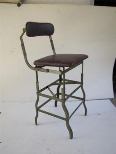Vintage Machine Age Industrial Drafting Stool do More Toledo | eBay