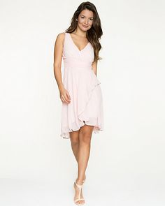 Chiffon V-Neck Cocktail Dress - Add this elegant chiffon high-low dress to your cocktail collection. High Low Cocktail Dress, V Neck Cocktail Dress, Bridesmaid Dresses, Prom Dresses, Summer Dresses, Jumpsuit Dress, Chic Dress, Wedding Gowns, Party Dress