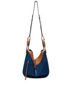 Shop for Loewe Hammock Small Bag in Denim & Tan at FWRD. Loewe Bag, Hammock, Denim, Image, Shopping, Fashion, Bags, Moda, Fashion Styles