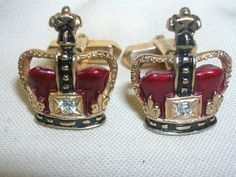 "Swank Crown Cufflinks Rhinestone Gole Red Black 3/4"" Men's Cuff Links Crown King #Swank"
