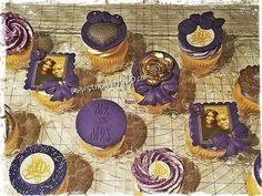 10 wedding anniversary cupcakes!!! Purple and gold!!!!