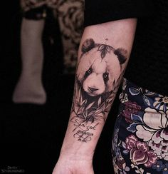 blackwork panda tattoo design for girls