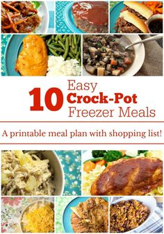 10 Easy Crock-Pot Freezer Meals - Want to make your life simpler? Making 10 Easy Crock-Pot Freezer Meals all at once & pull them out as your ready to eat them. Check out this fantastic meal plan which includes recipes, shopping Slow Cooker Freezer Meals, Crock Pot Freezer, Healthy Slow Cooker, Best Slow Cooker, Slow Cooker Recipes, Crockpot Recipes, Cooking Recipes, Freezer Cooking, Freezer Recipes
