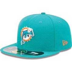 NFL Miami Dolphins On Field 5950 Aqua Cap, 7 7/8 by New Era. $30.99. This On Field 59Fifty Is The Official On-Field Cap of National Football League and Is Worn by Every National Football League Player. Performance Is Enhanced Through Coolera Technology Featuring Revolutionary Wicking, Superior Drying, and Shrink Resistance. Designed with An Embroidered (Raised) Team Logo At Front and Stitched National Football League Logo Patch At Back. Interior Includes Branded...