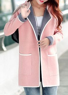 Long Sleeve Open Front Pink Cardigan | lulugal.com - USD $35.50