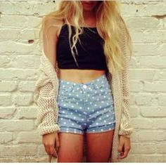 Brandy Melville Polka Dot shorts Adorable polka dot denim shorts from brandy melville! Worn once and in perfect condition, label says S. Should fit a 24/25. Brandy Melville Shorts Jean Shorts