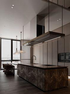 Curry on Behance Kitchen Room Design, Kitchen Cabinet Design, Interior Design Kitchen, Interior And Exterior, Interior Decorating, Apartment Projects, Bedroom Bed Design, Minimalist Interior, Modern Minimalist