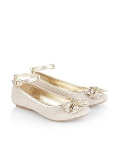 These sparkly ballerina shoes for girls are decorated with bows and clusters of faceted beads, and finished with supportive ankle straps with adjustable buckle fastenings. Softly-cushioned footbeds provide plenty of comfort.