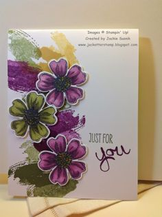 "By Jackie from ""JackOtterStamp"": Watercooler Challenge WCC01: New In-Colors, featuring Stampin' Up! stamp sets ""Work of Art"" and ""Flower Shop"""
