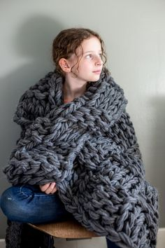 Chunky Arm Knit Blanket Pattern. Kits and blankets available too!