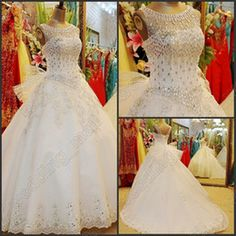 Wholesale 2014 Newest Luxury White Bling Bling Crystal Beading Sequins Sleeveless Bridal Dress Lace Up Scoop Long Ball Gown Wedding Dress