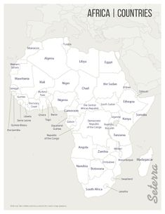 Labeled printable Africa countries map (pdf)