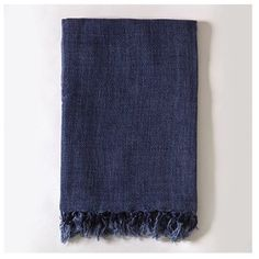 Pom Pom at Home Montauk Throw (3249600 BYR) ❤ liked on Polyvore featuring home, bed & bath, bedding, blankets, decor, indigo, indigo bedding, organic throw blanket, organic linen bedding and linen throw