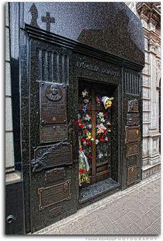 Eva Peron's tomb, in the La Recoleta Cemetery, located in the Recoleta neighbourhood of Buenos Aires, Argentina.